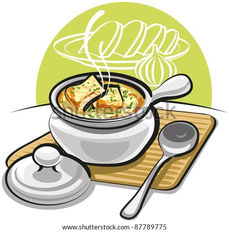 french onion soup with croutons and cheese - stock vector
