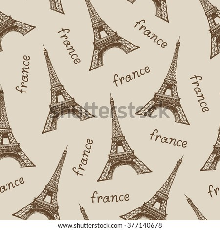French Pattern Travel Beige Background Vector Stock Vector 377140678