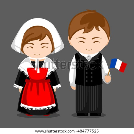 French People National Dress Flag Man Stock Vector