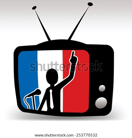 french politician on TV, man speaks on booth with french flag in background - stock vector