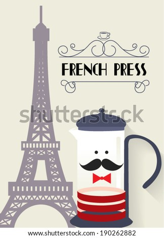 french press eiffel tower vector/illustration - stock vector
