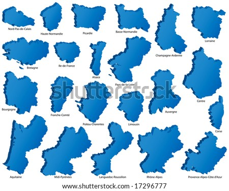 French Regions Icons - stock vector