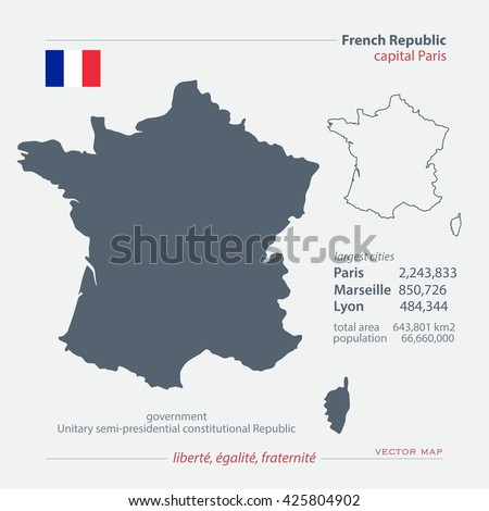 French Republic isolated maps and official flag icon. vector France political map icons with general information. European State geographic banner template. Republique Francaise  - stock vector