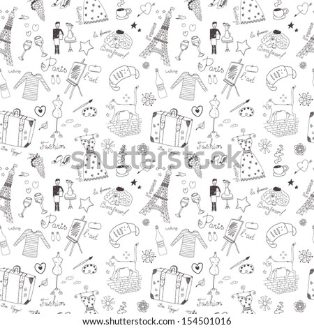 French seamless pattern - stock vector