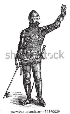 French soldier in armor in 1370, old engraving. Vector, engraved illustration of soldier in armor in the medieval era. - stock vector