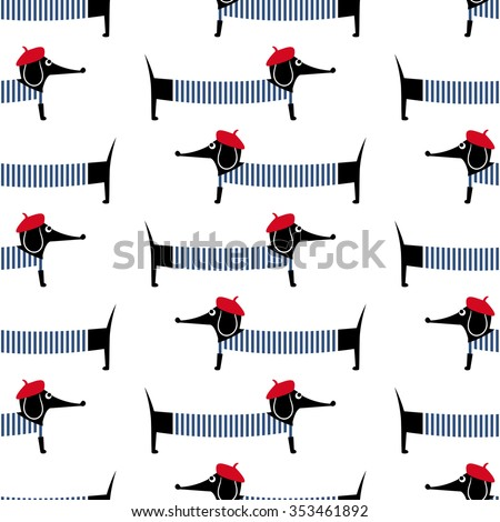 French style dog seamless pattern. Cute cartoon parisian dachshund vector illustration. Child drawing style puppy background. French style dressed dog with red beret and striped frock. - stock vector