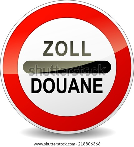 French translation for zoll customs round red sign  - stock vector