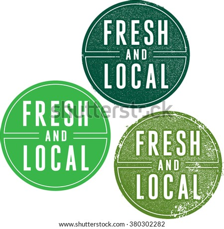 Fresh and Local Food Product and Market Stamps - stock vector