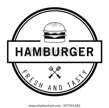 Fresh and Tasty Burger, french fries & soft drink badge - stock vector