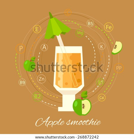 Fresh apple smoothie.  Vector illustration of vitamin healthy smoothie. Fresh juice for healthy life. - stock vector