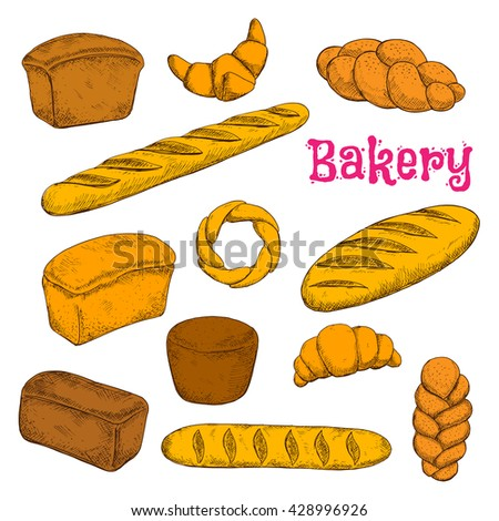 Fresh baked morning pastries and bread sketch icons for bakery shop design with french croissants and baguettes, turkish braided buns and bagel, loaves of dark rye, wheat and whole grain bread - stock vector