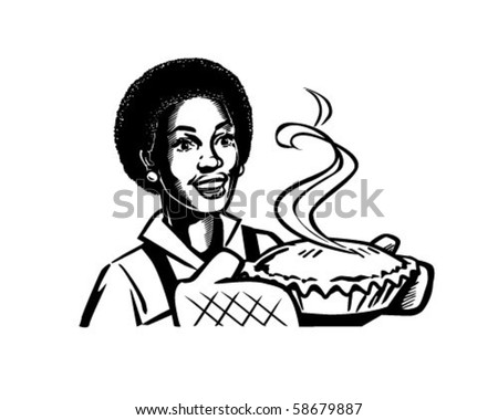 Fresh Baked Pie 2 - Retro Clip Art - stock vector