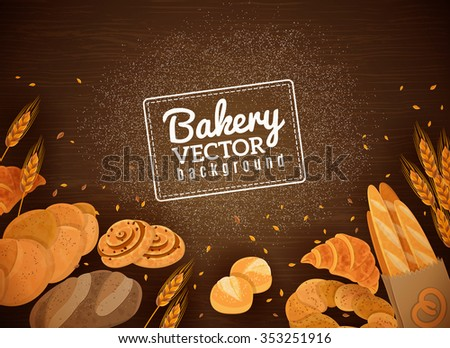 Fresh bakery production against dark wooden background with french baguette croissant and white buns abstract vector illustration - stock vector