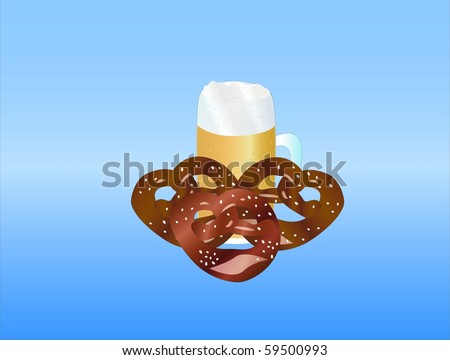 fresh beer and pretzel ( background on separate layer ) - stock vector