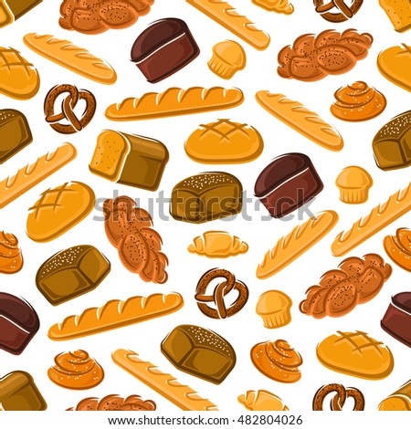 Fresh bread and buns seamless pattern of french croissant and baguette, jewish rye bread and challah, bavarian cupcake and pretzel, swedish cinnamon roll and round greek bread