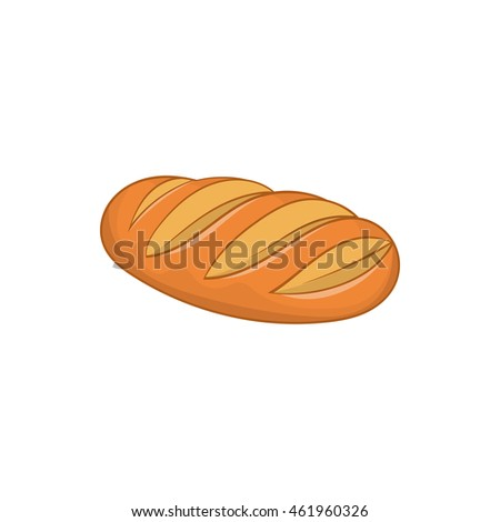 Fresh bread icon in cartoon style isolated on white background