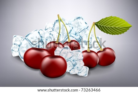 Fresh cherries and ice cubes - stock vector
