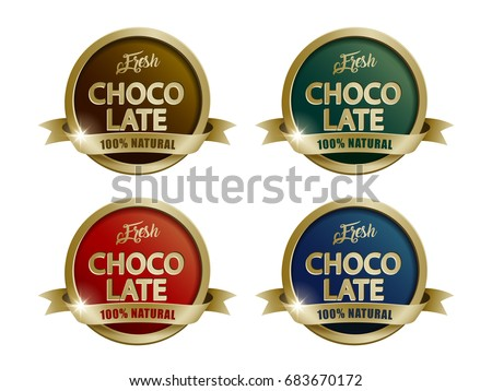 Fresh Chocolate Labels Set Four Color Stock Vector 683670172 ...