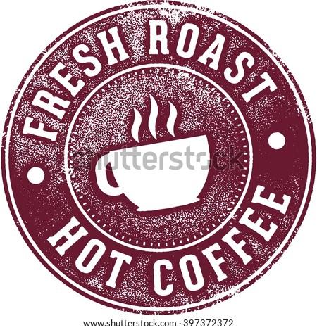 Fresh Coffee Cafe Menu Stamp - stock vector