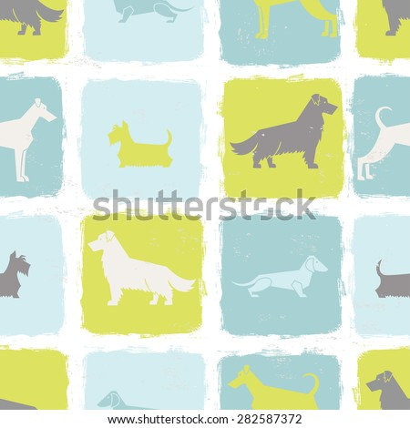 Fresh dog breeds silhouettes  seamless pattern. All objects are conveniently grouped and are easily editable. - stock vector