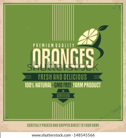 Fresh farm product poster design. Oranges retro logo label. Promotional vintage printing material for healthy food product. Fruits vector illustration. - stock vector