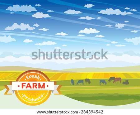 Fresh farm products. Herd of cows in green meadow. Vector rural nature landscape. - stock vector