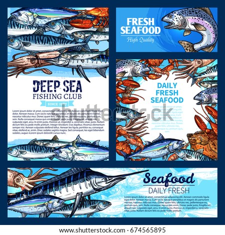 Fresh Fish And Seafood Banner Sea Fishing Poster Set Salmon Crab Tuna