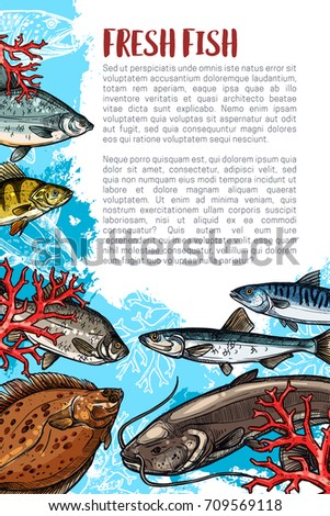 Fresh Fish Poster For Sea Food Or Market Vector Fishing Fisherman Catch Of