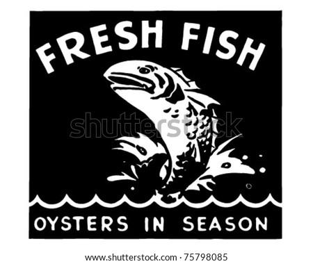 Fresh Fish 2 - Retro Ad Art Banner - stock vector