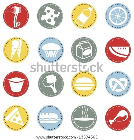 fresh food icons 3 - stock vector