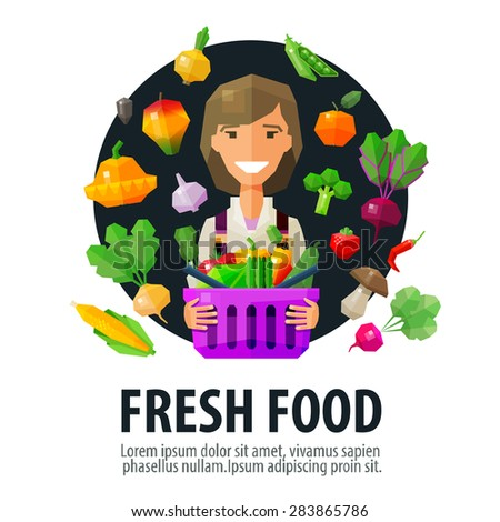 fresh food vector logo design template. fruits and vegetables or vegetarian diet  icon - stock vector