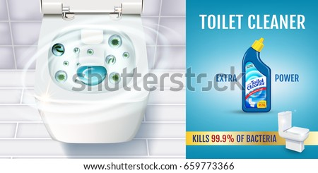 fresh fragrance toilet cleaner gel ads vector realistic with top view of toilet bowl
