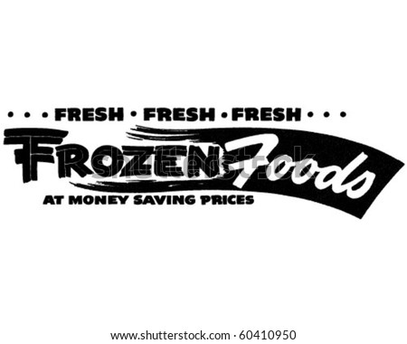 Fresh Frozen Foods - Ad Banner - Retro Clip Art