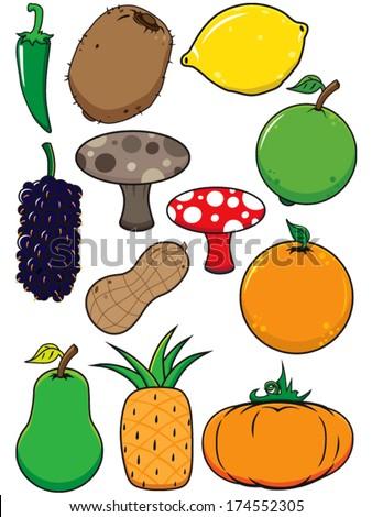 fresh fruit vegetable vectors starting letters stock vector royalty