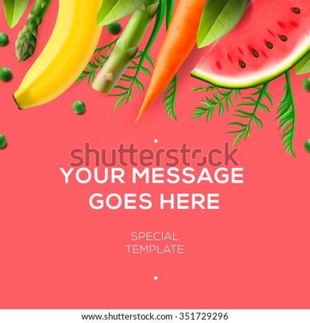 Fresh fruit and vegetables, background for restaurant menu design, vector illustration. - stock vector
