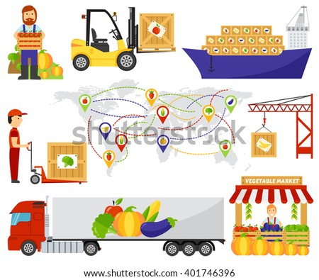 Fresh fruit and vegetables delivery. Fruits delivery natural organic market, fruits transportation vegetables truck delivery. Cartoon green eco food fruits delivery truck vector illustration. - stock vector