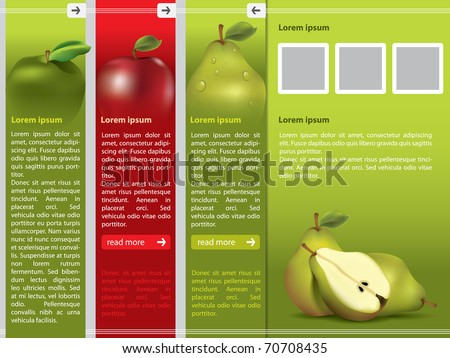 Fresh fruit themed webpage template - stock vector
