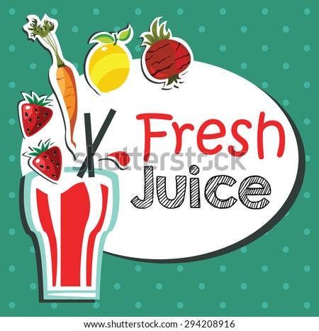 fresh fruits and vegetable juice illustration - stock vector