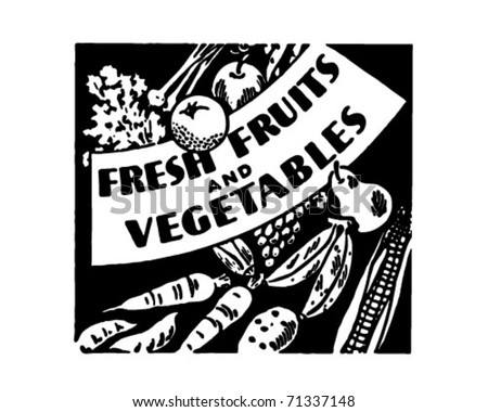 Fresh Fruits And Vegetables - Retro Ad Art Banner - stock vector