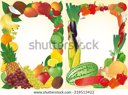Fresh fruits and vegetables vector frames. - stock vector