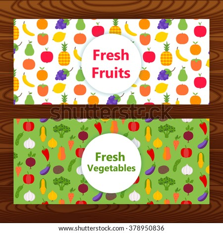 Fresh fruits and vegetables Web banners on wooden texture. Vector illustration of healthy food corporate identity. - stock vector