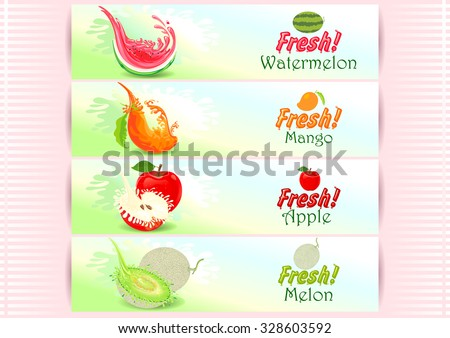 Fresh Fruits Banner Red - stock vector