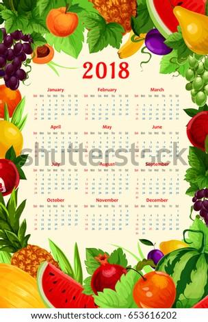 Fresh Fruits Calendar 2018 Template Vector Stock Vector 653616202