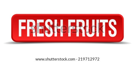 fresh fruits red 3d square button isolated on white background