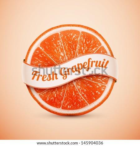 fresh grapefruit with ribbon eps10 vector illustration - stock vector