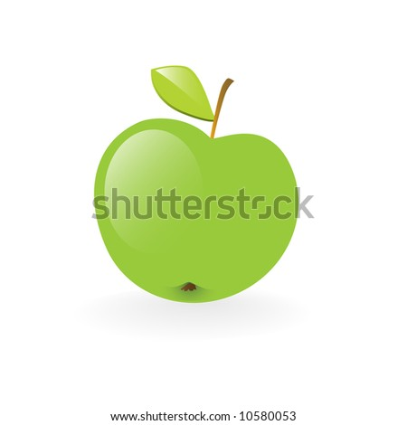 fresh green apple health symbol vector illustration isolated on white background - stock vector