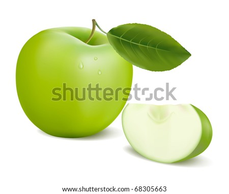 fresh green apple with green leaf . Vector illustration. - stock vector