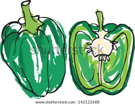 Fresh green bell pepper whole & sliced in half vector illustration