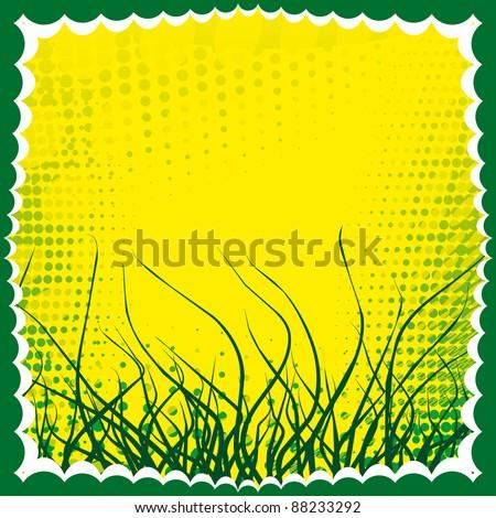 Fresh green grass vector frame - stock vector