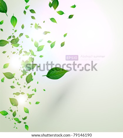 fresh green leaves and sun shine for summer design - stock vector